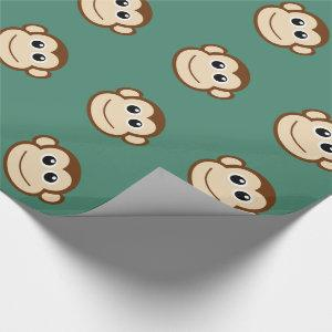 Cute Baby Monkey Face Wrapping Paper