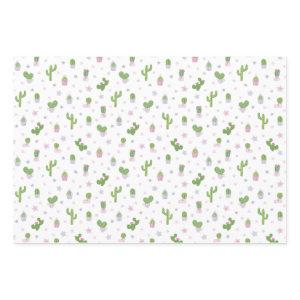 Cute Baby Shower Cacti Party Pattern Wrapping Paper Sheets