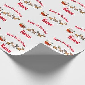 Cute Babys 1st Christmas Personalised Santa Wrapping Paper