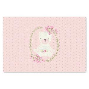 Cute Bear Floral Wreath and Hearts Tissue Paper