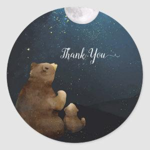 Cute Bear Over The Moon Thank You Classic Round Sticker