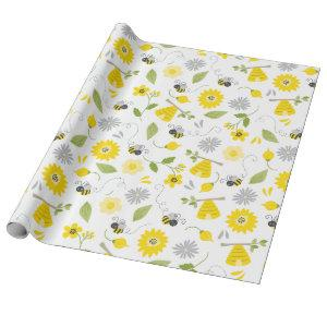 Cute Bees and Beehives Wrapping Paper