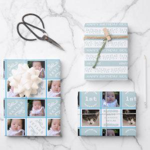 Cute Birthday Pale Blue Kids Party 4 Photo  Sheets