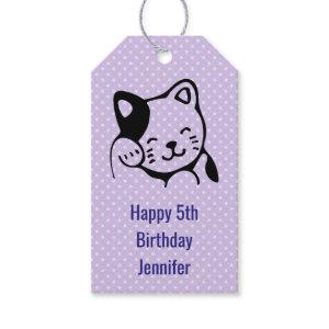 Cute Black and White Kitty Cat Waving Hello Gift Tags