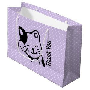 Cute Black and White Kitty Cat Waving Hello Large Gift Bag