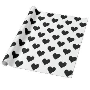 Cute Black Heart Wrapping Paper