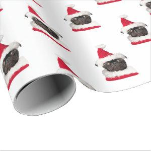 Cute Black Pug in Santa Hat Christmas Wrapping Paper