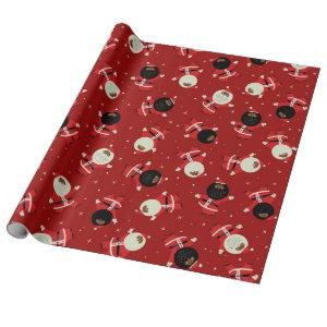 Cute Black Santa Party Pattern on Red Background Wrapping Paper