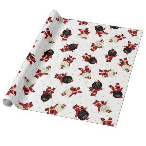 Cute Black Santa Party Pattern on White Background Wrapping Paper