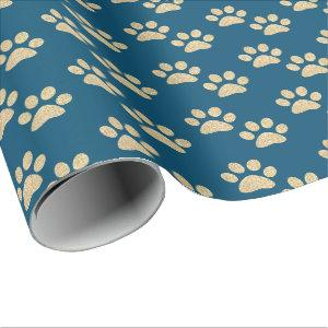 Cute Blue and Gold Glitter Paw Prints Pet Lovers Wrapping Paper