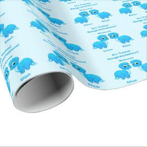 Cute Blue Baby Boy Dinosaur Twins Wrapping Paper
