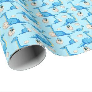 cute blue cartoon dinosaur pattern with baby dino wrapping paper