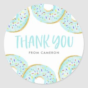 Cute Blue Watercolor Donuts Birthday Thank You Classic Round Sticker