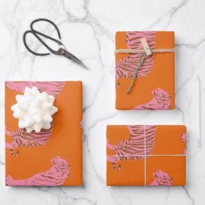 Cute Boho Orange and Pink Tiger Art Pattern Wrapping Paper Sheets
