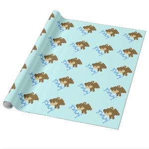 Cute Brown Bear 1st Birthday One Wrapping Paper