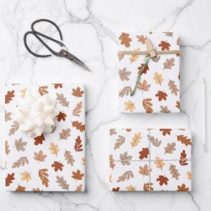 Cute Brown Fall Leaves Pattern Wrapping Paper Sheets