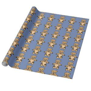 Cute Brown Teddy Bears Blue Wrapping Paper