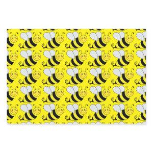 Cute Bumble Bee Pattern   Yellow Wrapping Paper Sheets