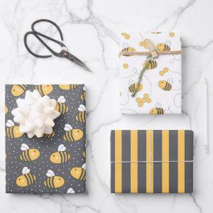 Cute Bumblebees Wrapping Paper Set of 3