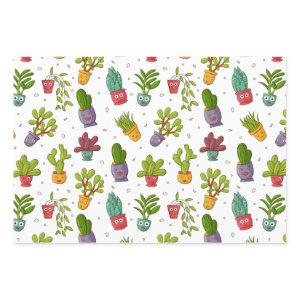 Cute Cactus Nature Succulents Pattern Wrapping Paper Sheets