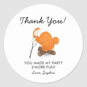 Cute Campfire Birthday Party Favor Classic Round Sticker