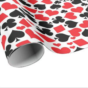 Cute card suit pattern casino party gambling wrapping paper