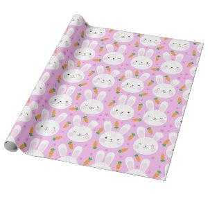 Cute cartoon bunnies and carrots on pink pattern wrapping paper