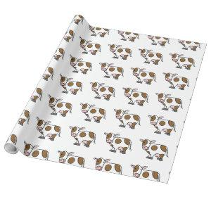 Cute Cartoon Cow Brown and White Wrapping Paper