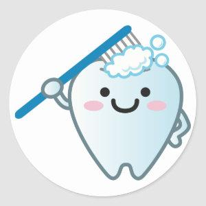 Cute Cartoon Tooth Brushing with Toothbrush Classic Round Sticker