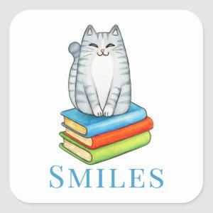 Cute Cat  Bookworm Reading Book Lover Hello Love Square Sticker
