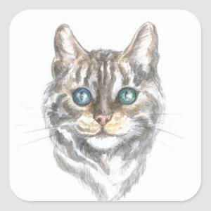 Cute Cat Gray Silver Tabby Kitten Kitty Lover Square Sticker