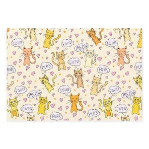 Cute Cat Pattern Wrapping Paper Sheets