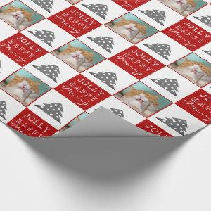 Cute Cat Pet Typography Christmas Tree Photo Wrapping Paper