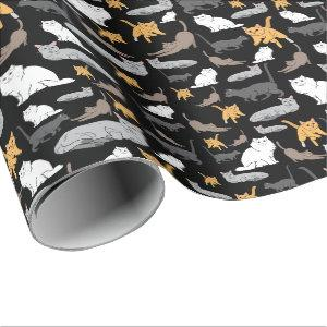Cute Cats Pattern Illustration on Black Background Wrapping Paper