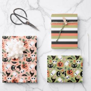 Cute Cats & Pumpkins Mixed Halloween Patterns Wrapping Paper Sheets
