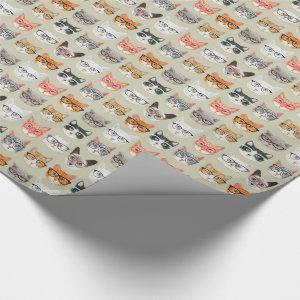 Cute Cats Wearing Glasses Pattern Wrapping Paper