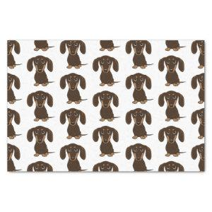 Cute Chocolate Dachshunds Pattern | Wiener Dogs Tissue Paper
