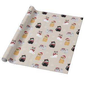Cute Christmas Cats Pattern Wrapping Paper