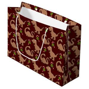 Cute Christmas dinosaur pattern party bag