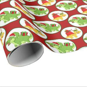 Cute Christmas dinosaur pattern party wrap Wrapping Paper
