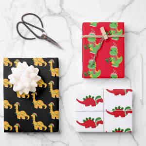 Cute Christmas Dinosaurs Wrapping Paper Sheets