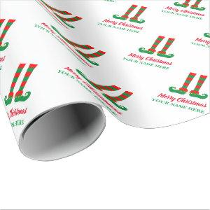 Cute Christmas elf Holiday gift wrapping paper