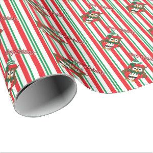 Cute Christmas Elf Owl Wrapping Paper