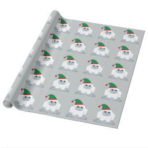 Cute Christmas Elf Yeti Wrapping Paper