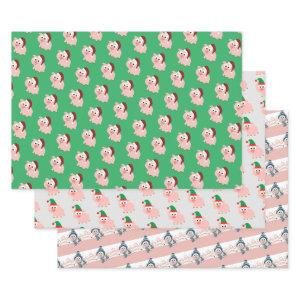 Cute  Christmas Holiday Pigs Wrapping Paper Sheets