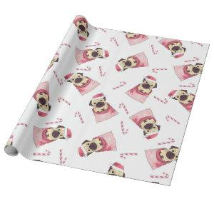 Cute Christmas Pug Pattern Wrapping Paper