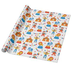 Cute Circus Animal Wrapping Paper