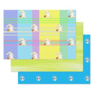 Cute,Colorful,Easter Bunny,Spring Colors,Holiday Wrapping Paper Sheets