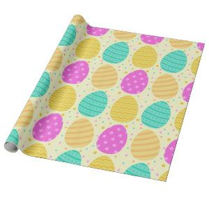 Cute colorful easter eggs pattern wrapping paper