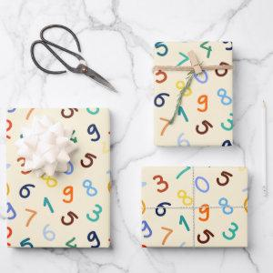 Cute Colorful Number Pattern Wrapping Paper Sheets
